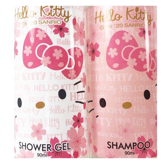 小禮堂 Hello Kitty 旅行盥洗組 附收納包 沐浴乳 洗髮乳 旅行瓶罐 蘋果洋甘菊香 (粉白)