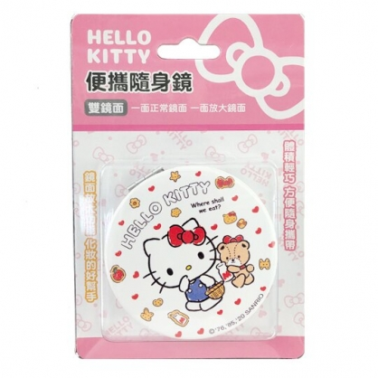 小禮堂 Hello Kitty 圓形皮質隨身雙面鏡 隨身化妝鏡 放大鏡 (紅白 小熊)
