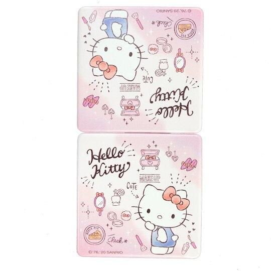 小禮堂 Hello Kitty 方形皮質隨身雙面鏡 隨身化妝鏡 放大鏡 (粉白 化妝品)