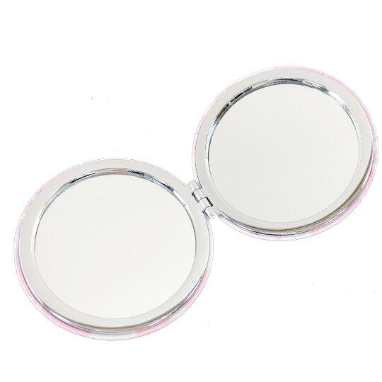 小禮堂 雙子星 圓形皮質隨身雙面鏡 隨身化妝鏡 放大鏡 (粉黃 月亮)