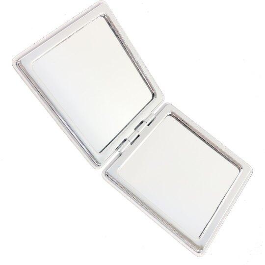 小禮堂 雙子星 方形皮質隨身雙面鏡 隨身化妝鏡 放大鏡 (粉藍 親親)