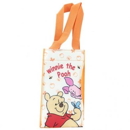 小禮堂 迪士尼 小熊維尼 方形尼龍保冷水壺袋 環保杯袋 飲料杯袋 (黃 蝴蝶)