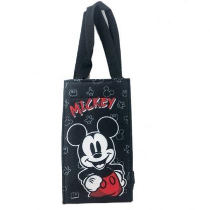 小禮堂 迪士尼 米奇 方形尼龍保冷水壺袋 環保杯袋 飲料杯袋 (黑 撐腰)