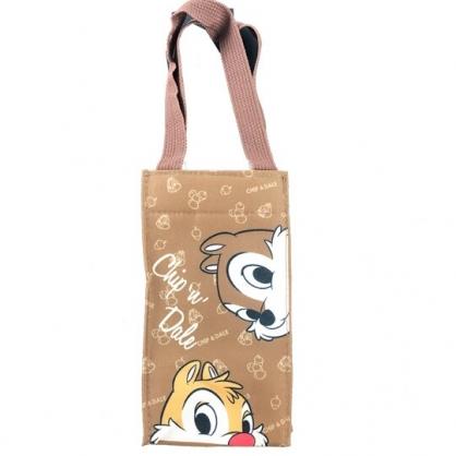 小禮堂 迪士尼 奇奇蒂蒂 方形尼龍保冷水壺袋 環保杯袋 飲料杯袋 (棕 探頭)