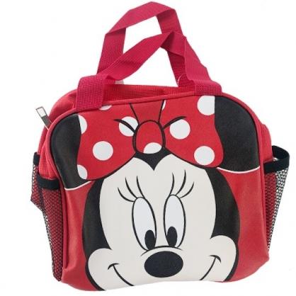 小禮堂 迪士尼 米妮 方形皮質便當袋 手提袋 野餐袋 (紅 大臉)