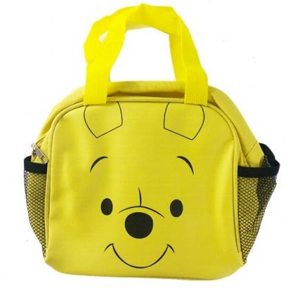 小禮堂 迪士尼 小熊維尼 方形皮質便當袋 手提袋 野餐袋 (黃 大臉)