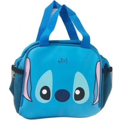 小禮堂 迪士尼 史迪奇 方形皮質便當袋 手提袋 野餐袋 (藍 大臉)