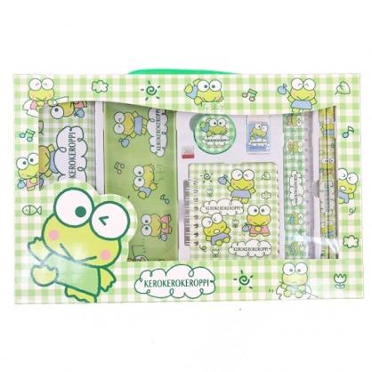 小禮堂 大眼蛙 豪華禮盒文具組 鐵筆盒 筆記本 尺 橡皮擦 鉛筆 削筆器 (綠 格紋)