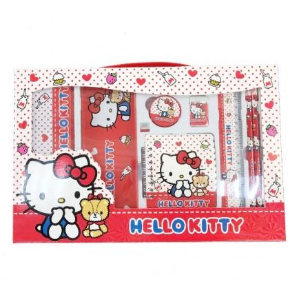 小禮堂 Hello Kitty 豪華禮盒文具組 鐵筆盒 筆記本 尺 橡皮擦 鉛筆 削筆器 (紅 點點)