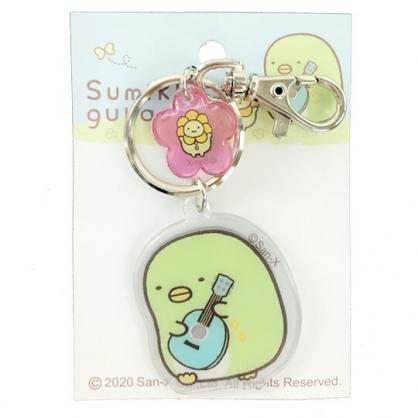 小禮堂 角落生物 企鵝 造型果凍鑰匙圈 壓克力鑰匙圈 塑膠吊飾 (綠 吉他)