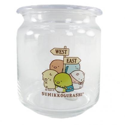 小禮堂 角落生物 透明密封玻璃罐 食物分裝罐 保鮮罐 餅乾罐 500ml (路標)