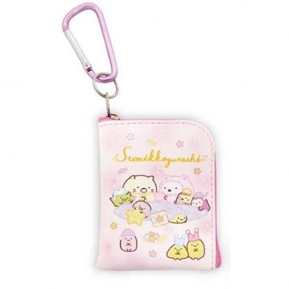 小禮堂 角落生物 迷你方形皮質零錢包 吊飾零錢包 小物包 耳機包 (粉 睡衣)