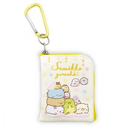 小禮堂 角落生物 迷你方形皮質零錢包 吊飾零錢包 小物包 耳機包 (黃 睡衣)