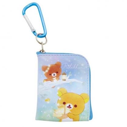 小禮堂 懶懶熊 迷你方形皮質零錢包 吊飾零錢包 小物包 耳機包 (藍棕 星空)