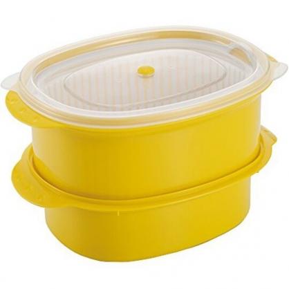 小禮堂 日製 蔬菜調理保鮮盒組 洗菜籃 塑膠保鮮盒 微波便當盒 (2入 黃白盒裝)