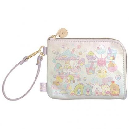 小禮堂 角落生物 防水拉鍊票卡零錢包 票卡夾 證件夾 小物包 (粉紫 遊樂園)