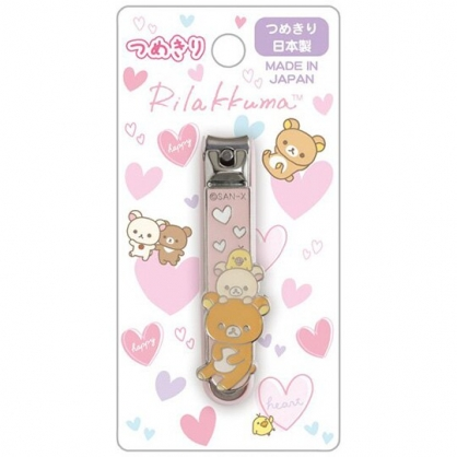 小禮堂 懶懶熊 日製 造型指甲剪 指甲刀 指甲銼刀 (粉 愛心)