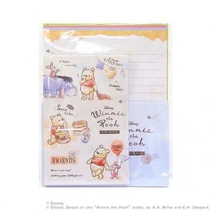 小禮堂 迪士尼 小熊維尼 日製 信紙組 信封 萬用卡片 便條紙 (黃白 汽球)