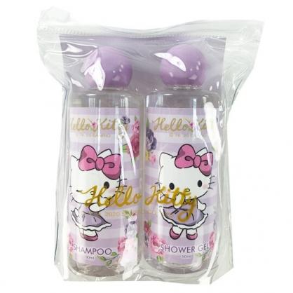 小禮堂 Hello Kitty 旅行盥洗組 附收納包 沐浴乳 洗髮乳 旅行瓶罐 蘋果洋甘菊香 (紫)