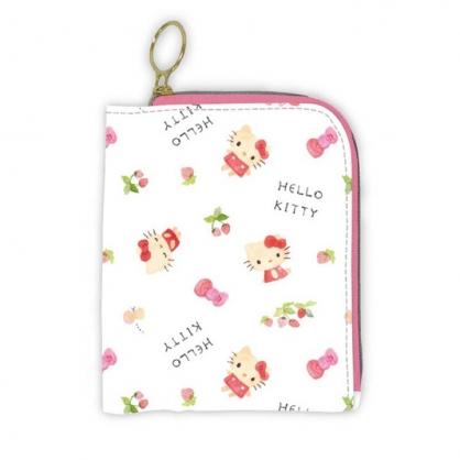 小禮堂 Hello Kitty 折疊尼龍多功能收納包 口罩包 面紙包 小物包 (粉白 草莓)