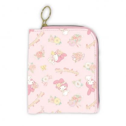 小禮堂 美樂蒂 折疊尼龍多功能收納包 口罩包 面紙包 小物包 (粉黃 花朵)