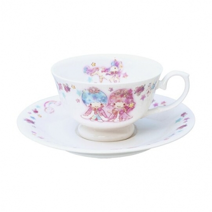 小禮堂 雙子星 日製 陶瓷杯盤組 咖啡杯盤 點心盤 金正陶器 (粉白 45週年)