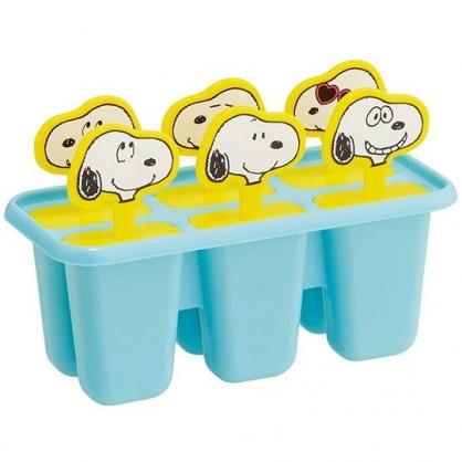小禮堂 史努比 造型塑膠冰棒模型 製冰棒器 製冰盒 DIY冰棒 (6入 綠黃 大臉)