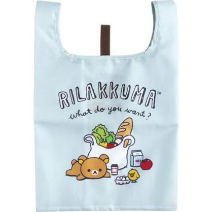 小禮堂 懶懶熊 折疊尼龍環保便當袋 環保購物袋 餐袋 (淺藍 食物)
