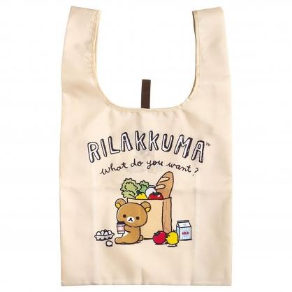 小禮堂 懶懶熊 折疊尼龍環保購物袋 環保袋 側背袋 (米 麵包)