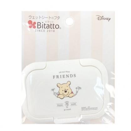 小禮堂 迪士尼 小熊維尼 日製 方形塑膠濕紙巾蓋 濕巾盒蓋 濕巾蓋 Bitatto (白 探頭)