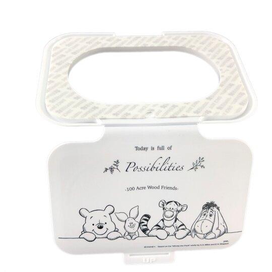 小禮堂 迪士尼 小熊維尼 日製 方形塑膠濕紙巾蓋 濕巾盒蓋 濕巾蓋 Bitatto (白 朋友)