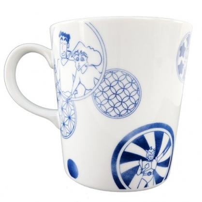 小禮堂 蠟筆小新 陶瓷馬克杯 咖啡杯 陶瓷杯 YAMAKA陶瓷 (藍白 幾何圖形)