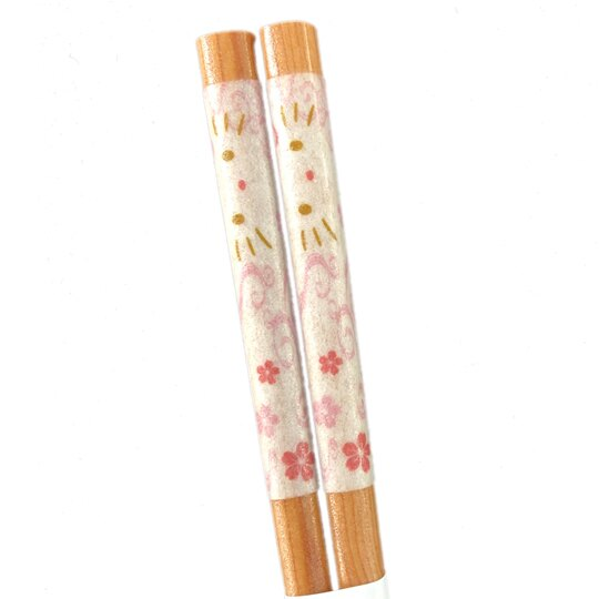 小禮堂 Hello Kitty 日製 木筷 竹筷 環保筷 21cm YAMAKA陶瓷 (淺棕 櫻花)