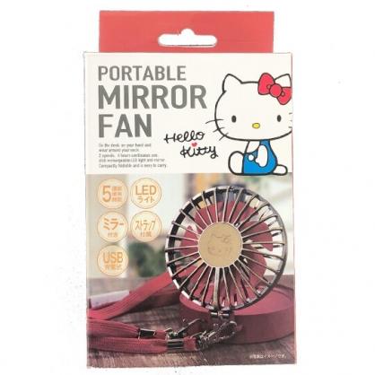 小禮堂 Hello Kitty 手持電風扇 補光鏡 隨身風扇 USB電風扇 桌扇 (棕紅 大臉)