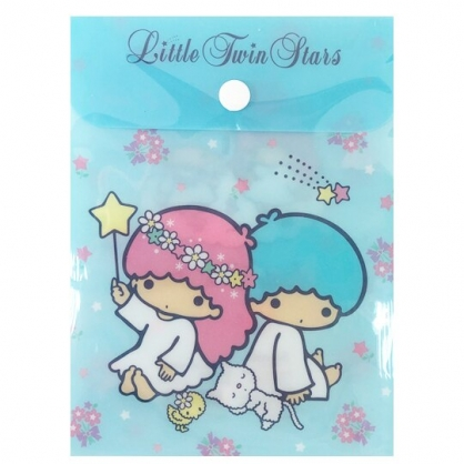 小禮堂 雙子星 B6直式塑膠扣式資料袋 文具袋 萬用資料袋 (藍 花圈)