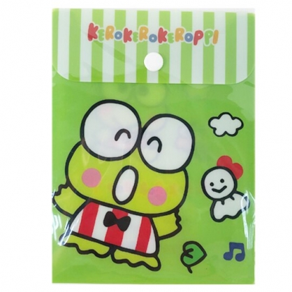 小禮堂 大眼蛙 B6直式塑膠扣式資料袋 文具袋 萬用資料袋 (綠 跳躍)