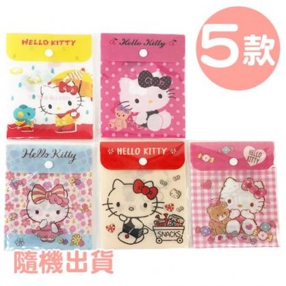小禮堂 Hello Kitty B6直式塑膠扣式資料袋 文具袋 萬用資料袋 (5款隨機)