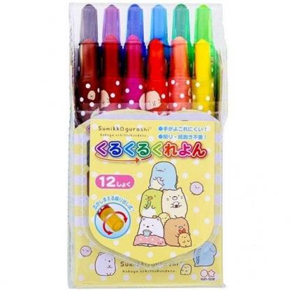 小禮堂 角落生物 12色旋轉蠟筆組 彩繪筆 塗鴉筆 色鉛筆 (居家)