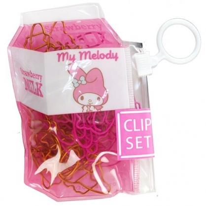 小禮堂 美樂蒂 造型迴紋針 附收納包 迴紋夾 書籤夾 18枚入 (粉 牛奶盒)