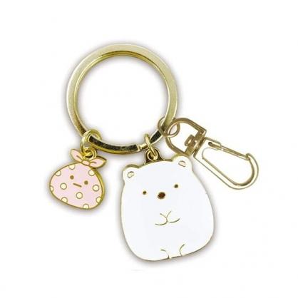 小禮堂 角落生物 北極熊 造型金屬鑰匙圈 鐵鑰匙圈 金屬吊飾 (白金 坐姿)