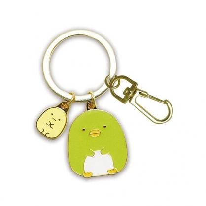 小禮堂 角落生物 企鵝 造型金屬鑰匙圈 鐵鑰匙圈 金屬吊飾 (綠金 坐姿)