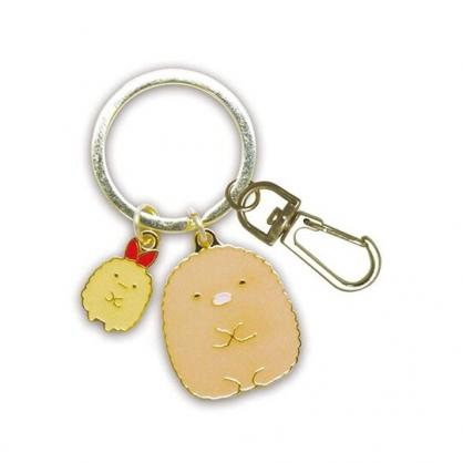 小禮堂 角落生物 豬排 造型金屬鑰匙圈 鐵鑰匙圈 金屬吊飾 (棕金 坐姿)
