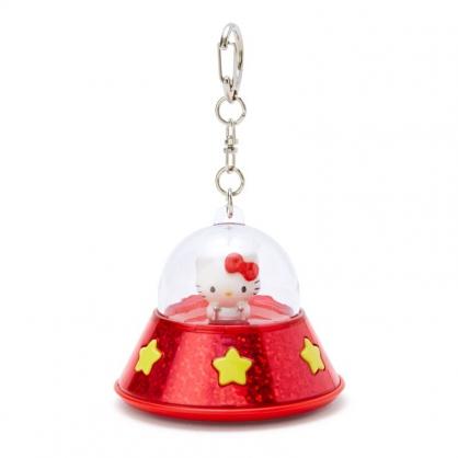 小禮堂 Hello Kitty 飛碟造型LED鑰匙圈 LED掛飾 發光吊飾 (紅黃)