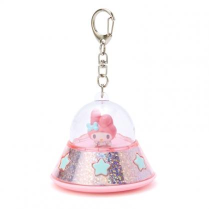 小禮堂 美樂蒂 飛碟造型LED鑰匙圈 LED掛飾 發光吊飾 (粉藍)