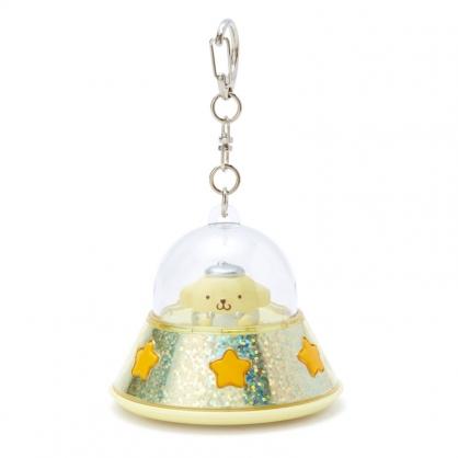 小禮堂 布丁狗 飛碟造型LED鑰匙圈 LED掛飾 發光吊飾 (黃橘)