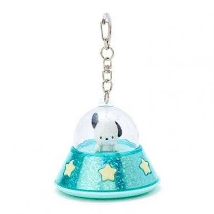 小禮堂 帕恰狗 飛碟造型LED鑰匙圈 LED掛飾 發光吊飾 (綠黃)