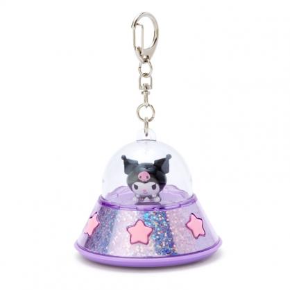 小禮堂 酷洛米 飛碟造型LED鑰匙圈 LED掛飾 發光吊飾 (紫黑)