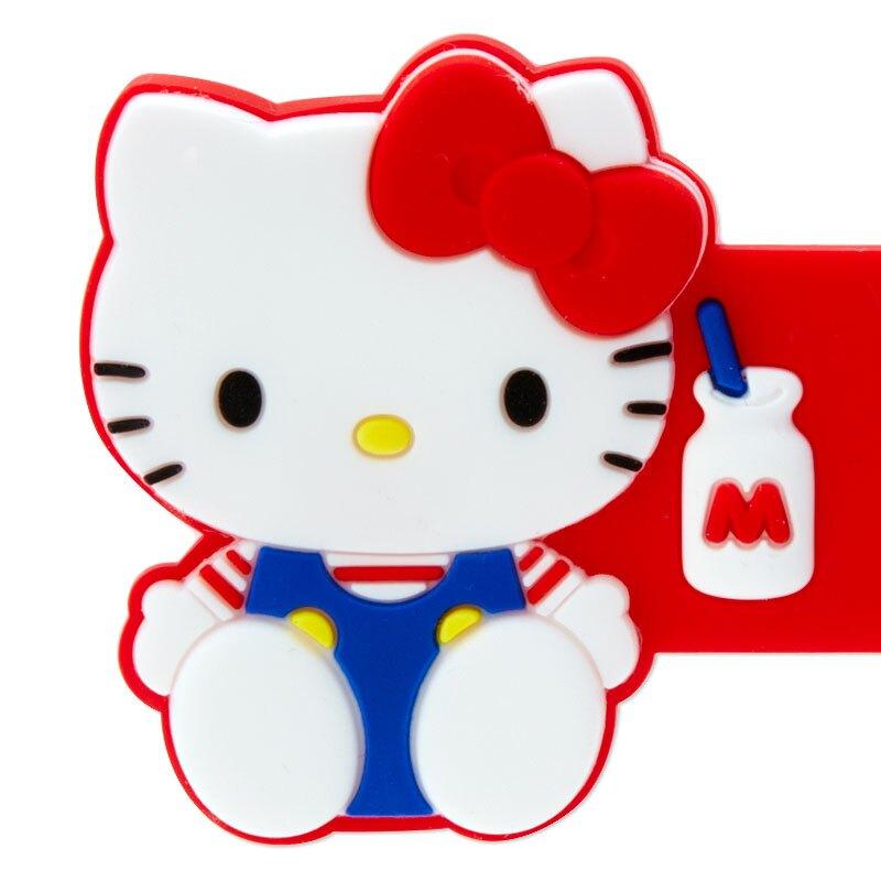小禮堂 Hello Kitty 造型矽膠捲線器 矽膠束繩 集線器 繞線器 (紅白 坐姿)