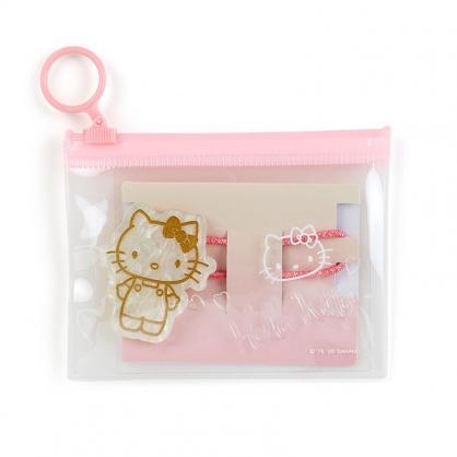 小禮堂 Hello Kitty 造型壓克力彈力髮圈 附收納包 造型髮束 塑膠髮圈 (粉金)