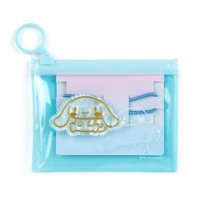 小禮堂 大耳狗 造型壓克力彈力髮圈 附收納包 造型髮束 塑膠髮圈 (藍金)